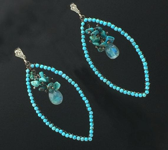 Turquoise Oxidized Silver Hoop Earrings - doolittlejewelry