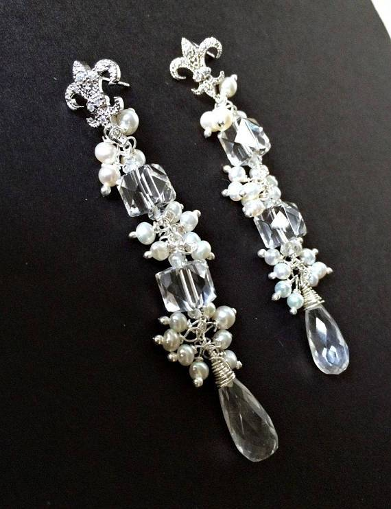 Rock Crystal Wire Wrap Cluster Earrings - doolittlejewelry