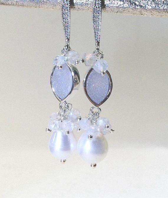 White Druzy and Pearl Dangle Earrings - doolittlejewelry