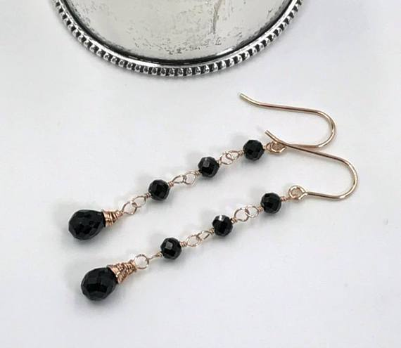 Rose Gold Black Gemstone Boho Earrings - doolittlejewelry