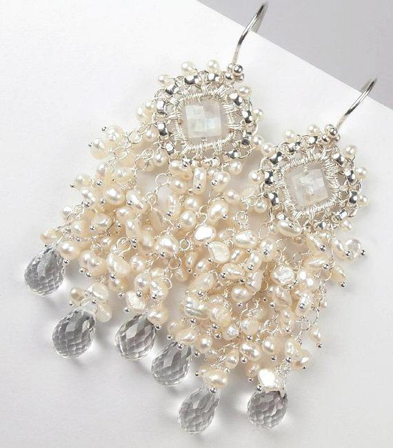 Moonstone and Pearl Chandelier Statement Bridal Wedding Earrings - doolittlejewelry