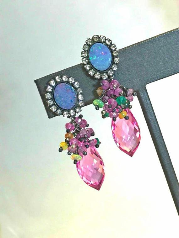 Boulder Opal and Pink Topaz Earrings - doolittlejewelry