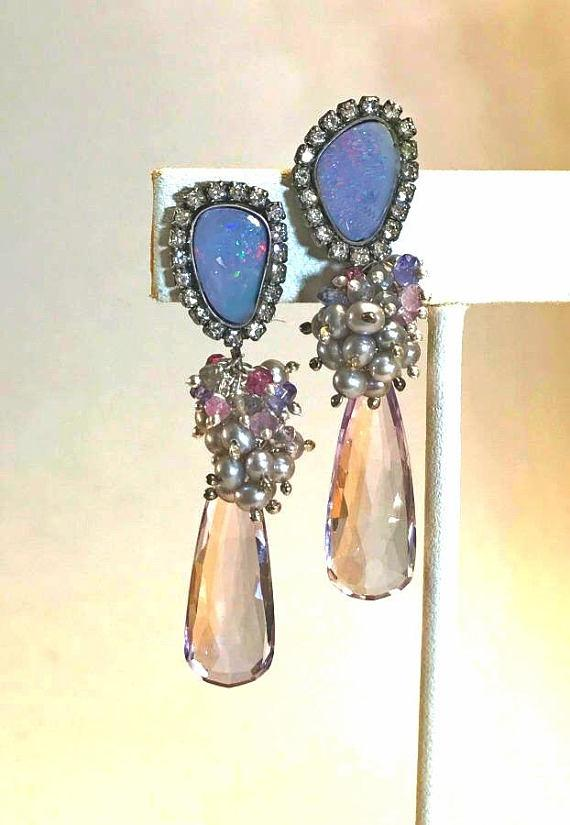Black Boulder Opal and Diamond Look Bezel Earrings - doolittlejewelry