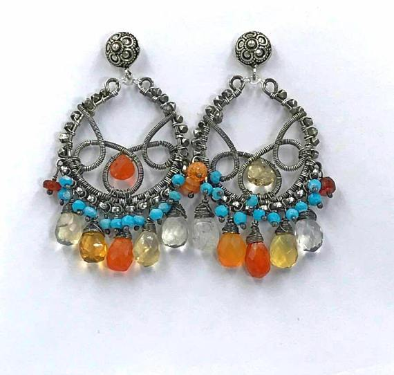 Mexican Fire Opal Turquoise Hoop Earrings - doolittlejewelry