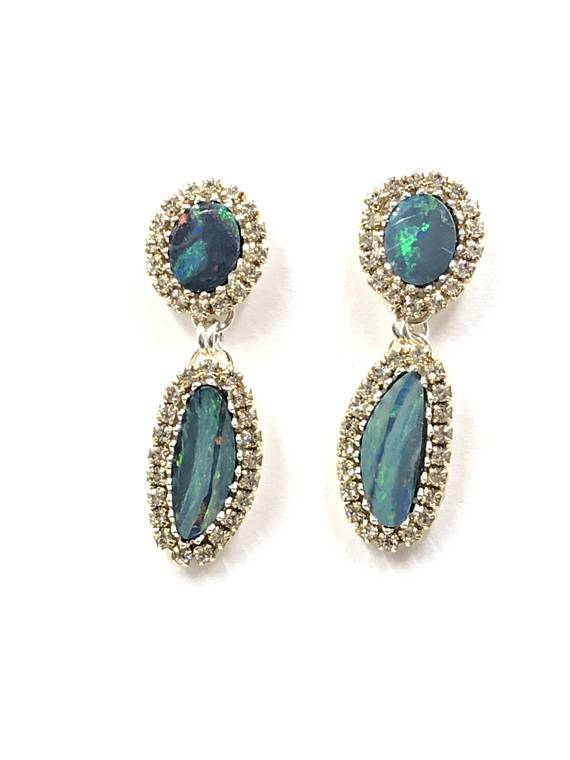 Lightning Ridge Opal Double Dangle Earrings - doolittlejewelry