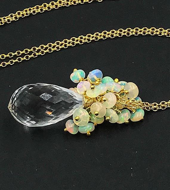 Opal Crystal Quartz Necklace - doolittlejewelry