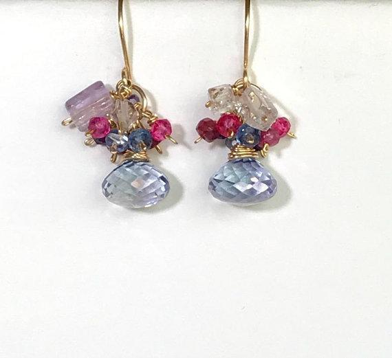 Blue Lapis, Amethyst, Herkimer Diamond Cluster  Earrings - doolittlejewelry