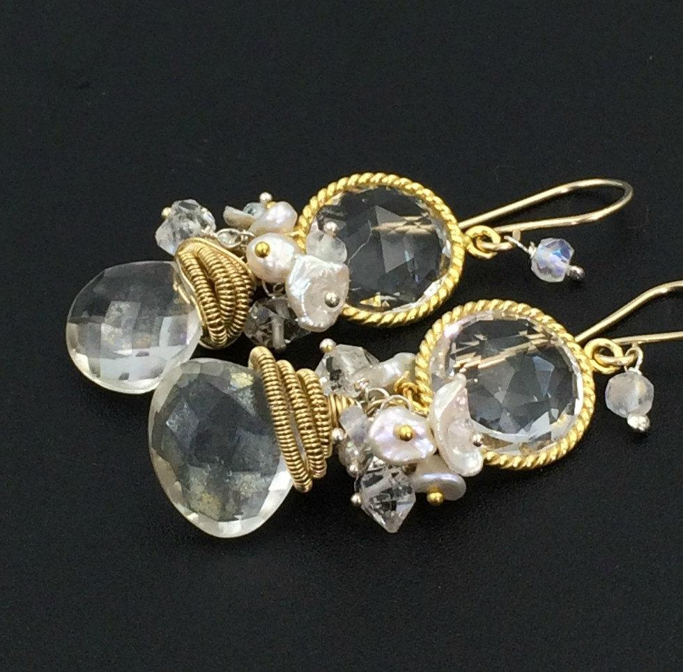 Mystic Quartz Gemstone Cluster Earrings - doolittlejewelry
