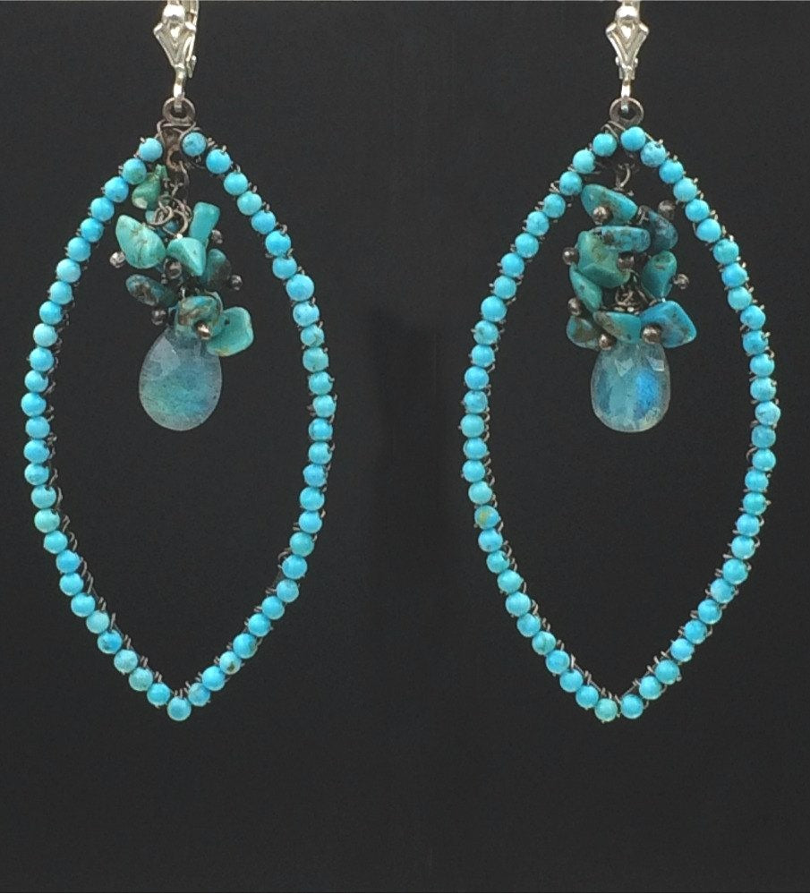 Oxidized Silver Turquoise Beaded Hoop Earrings - doolittlejewelry