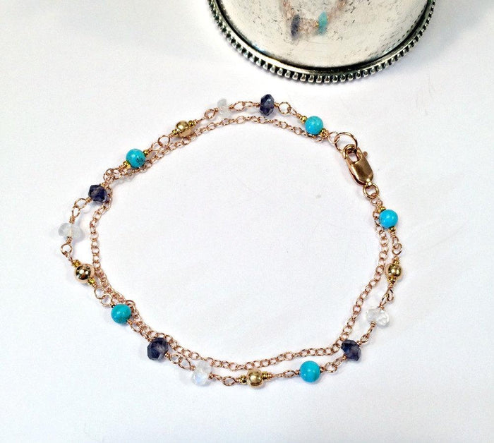 Rose Gold and Wire Wrapped Beaded Bracelet - doolittlejewelry