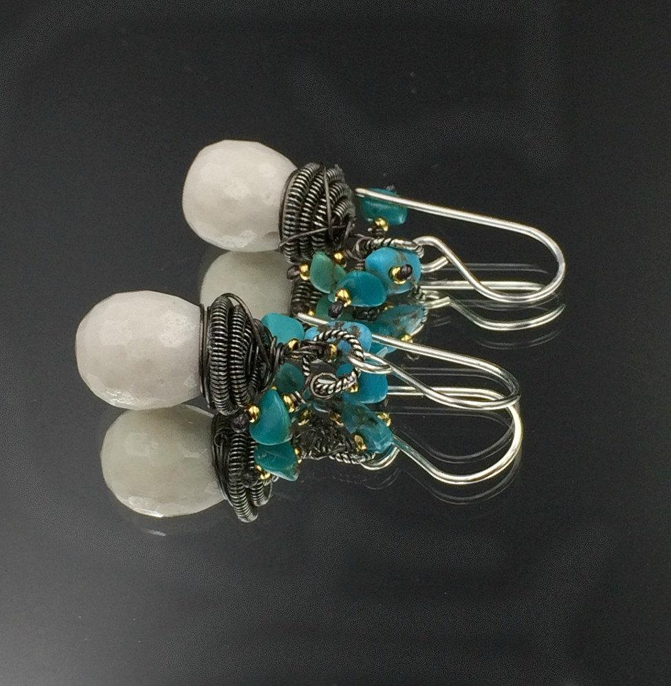 Oxidized Silver Mixed Metal Coiled Earring - doolittlejewelry