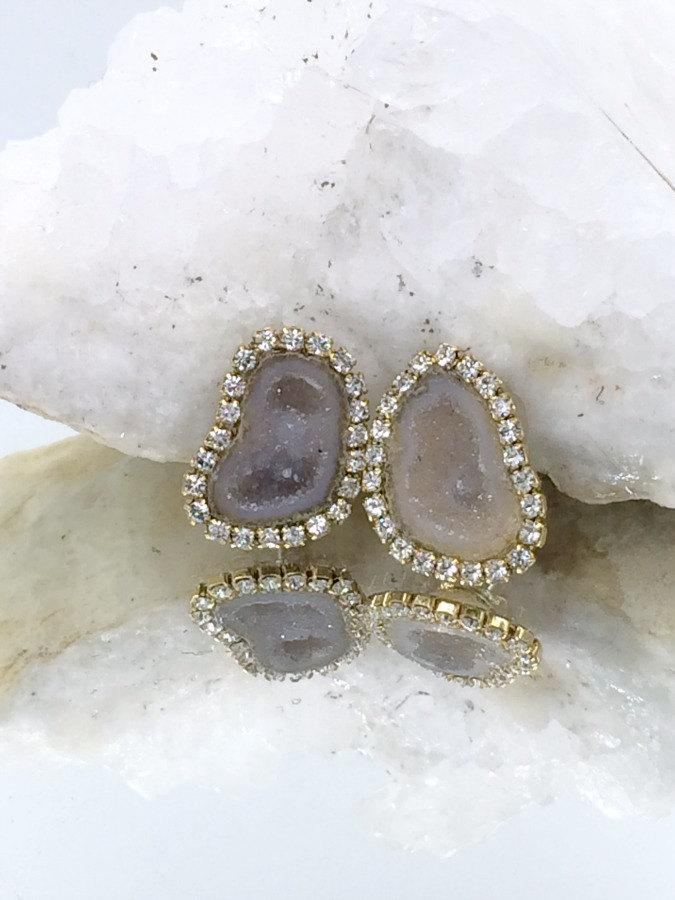 Tabasco Geode and Druzy Diamond Look Earrings - doolittlejewelry