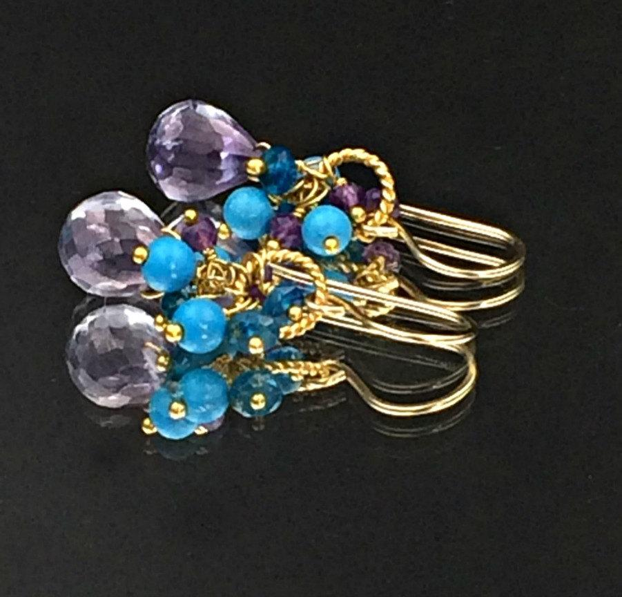 Beaded, Multicolor and Amethyst Cluster Earring - doolittlejewelry