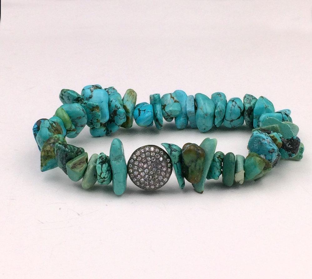 Gemstone, Turquoise, Stack and Stretch Gemstone Bracelet - doolittlejewelry