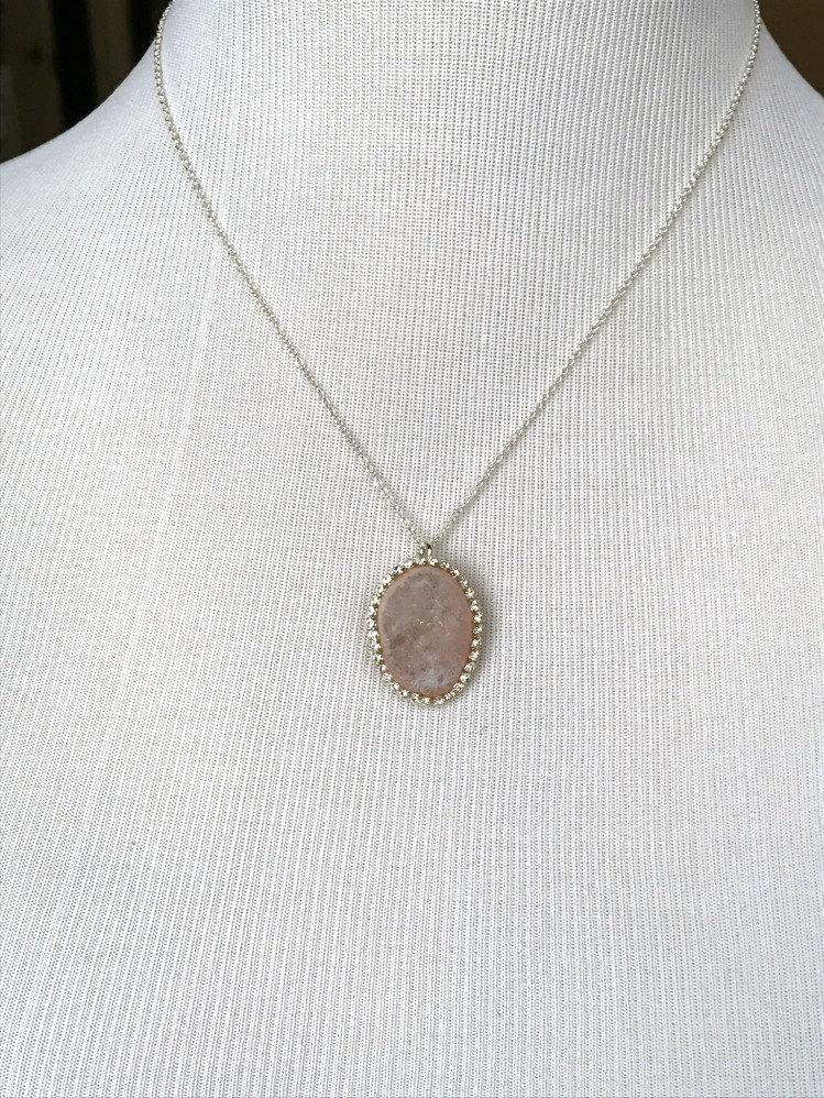 Blush Tabasco Geode Pendant Wedding Necklace - doolittlejewelry