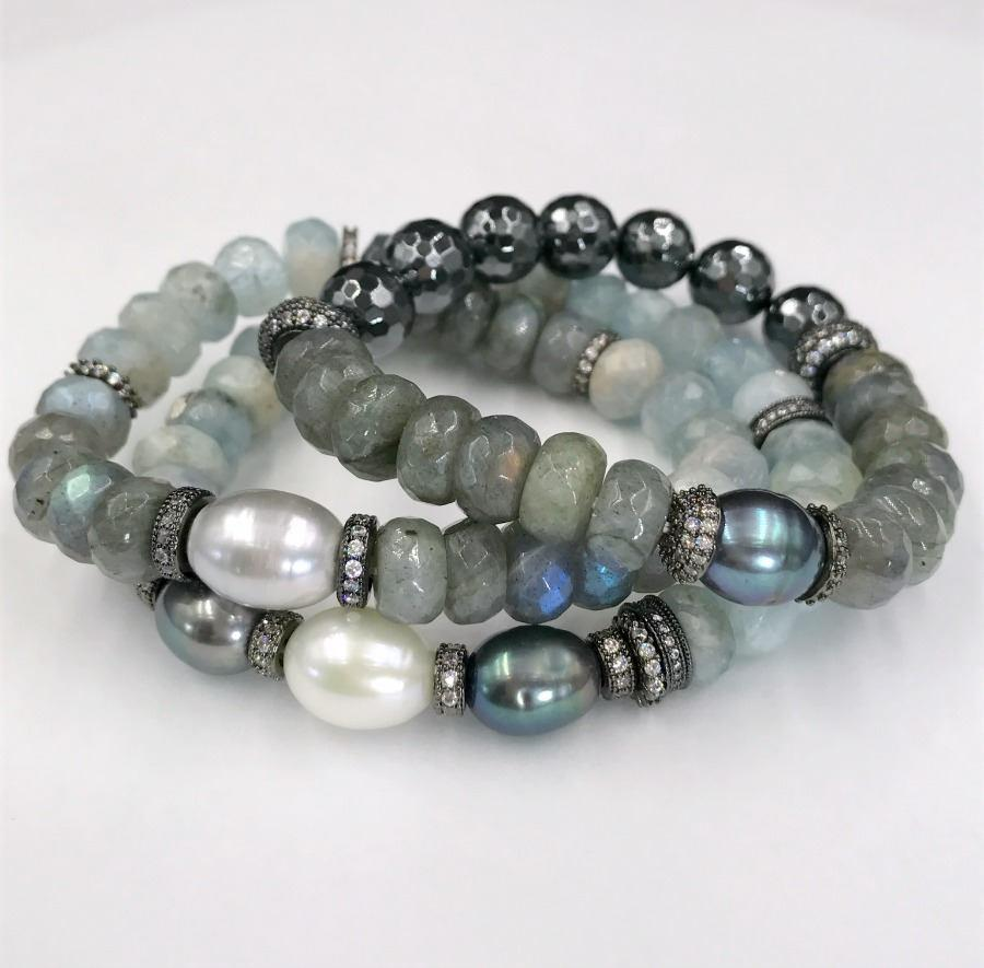 Aquamarine, Labradorite Gemstone Stack and Stretch Layering Bracelets Set - doolittlejewelry