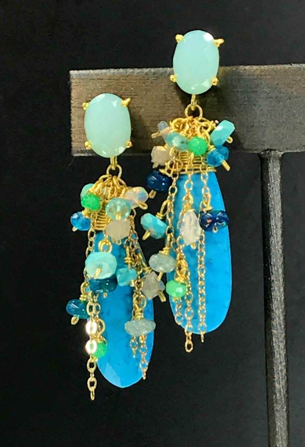 Turquoise, Opal, Colorful Gemstone Cluster Dangle Earrings - doolittlejewelry