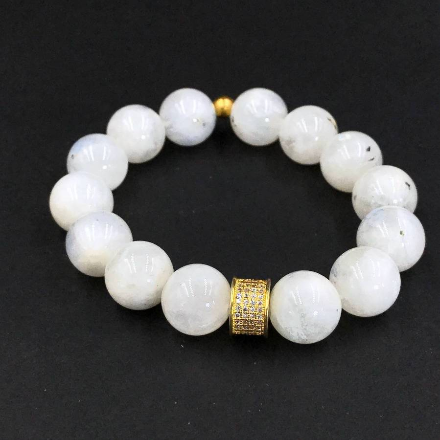 Rainbow Moonstone Gemstone Stretch Stackable Bracelet Gold Pave CZ - doolittlejewelry
