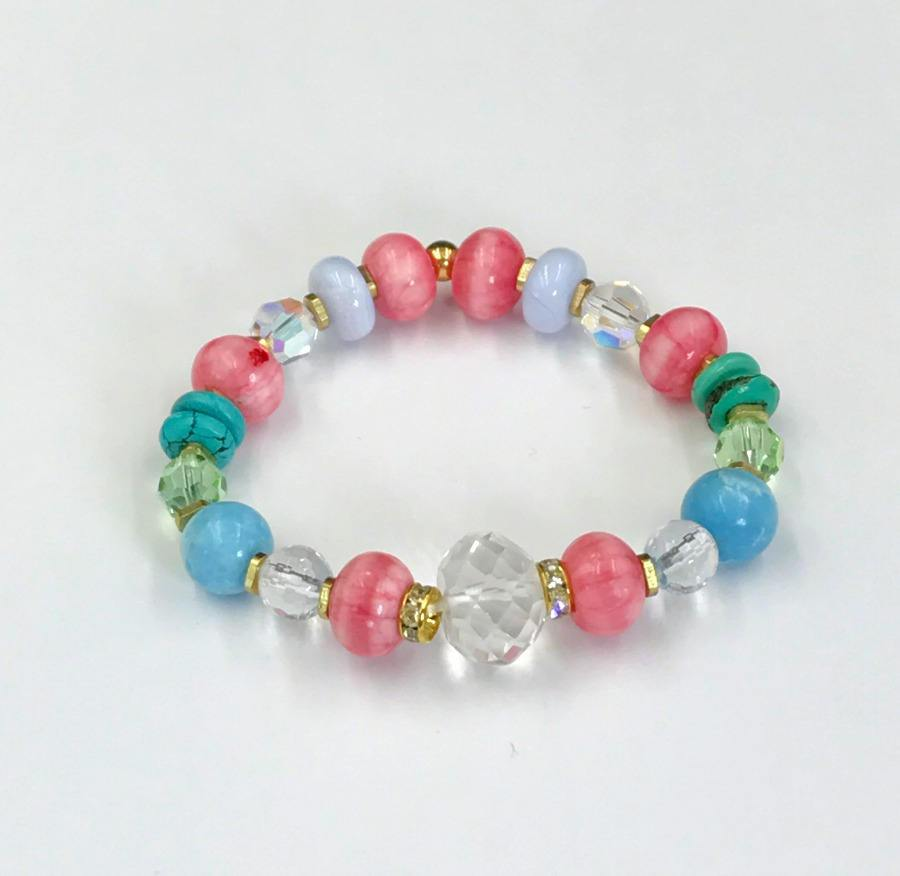 Stretch Layering Bracelets Set of 3 Colorful Gemstone Stacking - doolittlejewelry