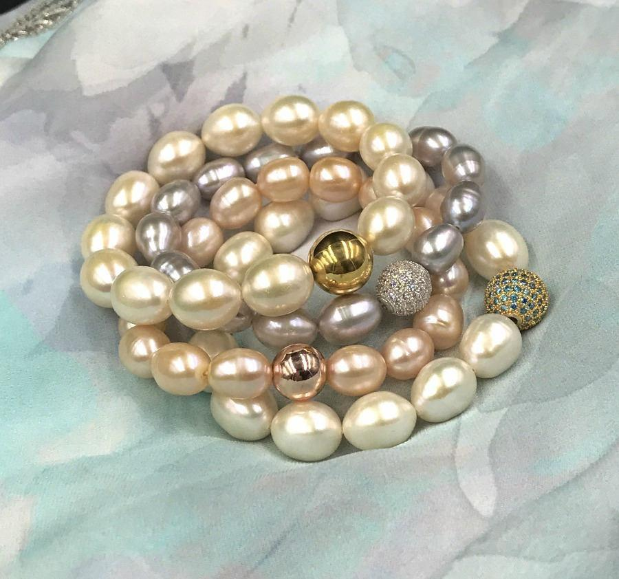 Pearl, Gold, Grey and Pearl Layering Bracelet - doolittlejewelry