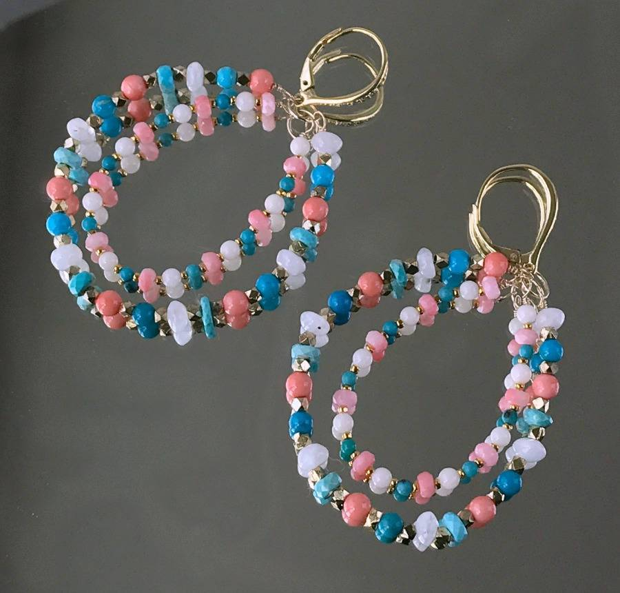 Coral Moonstone Turquoise and Double Hoop Earrings - doolittlejewelry