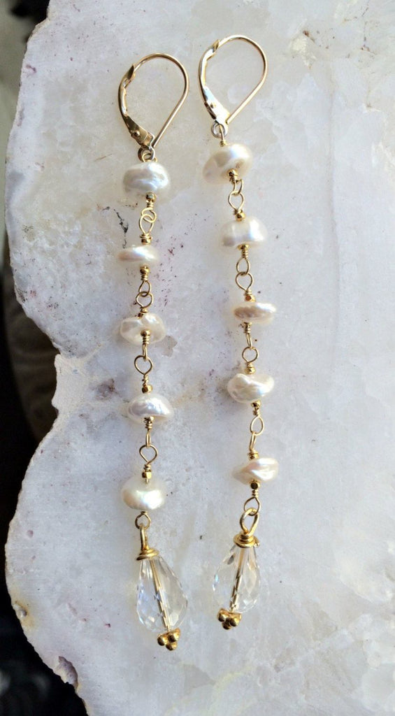 Crystal Quartz Dangle Long Wedding Earrings - doolittlejewelry