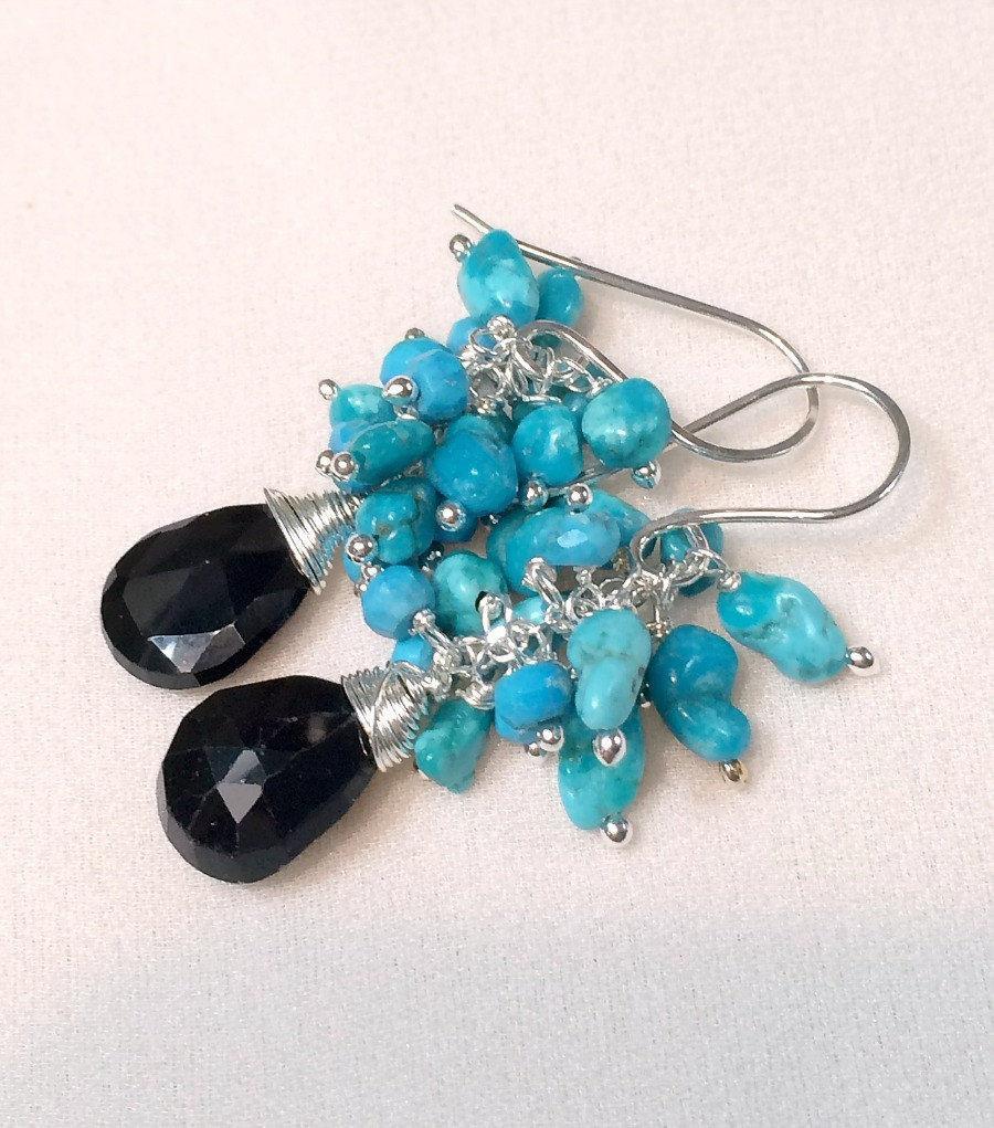 Gemstone and Turquoise Sterling Silver Dangle Earring - doolittlejewelry