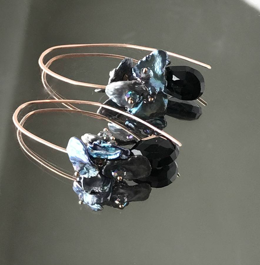 Rose Gold, Long Dangle and Black Earrings - doolittlejewelry
