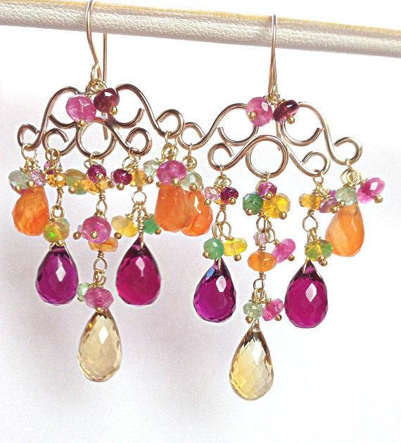 Gemstone Chandelier Gold Wire Wrap Earrings - doolittlejewelry