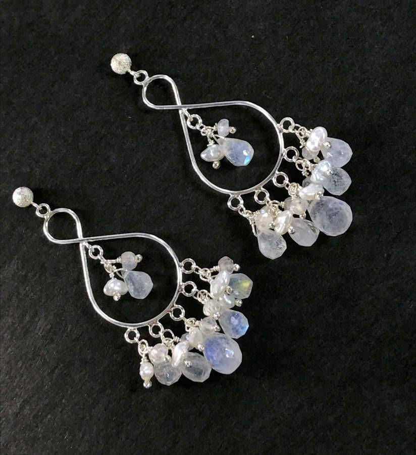 Sterling Silver Moonstone Chandelier Bridal Wedding Earrings - doolittlejewelry