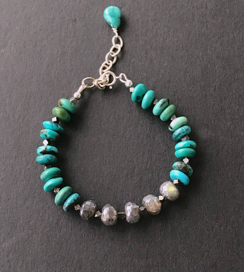 Sterling Silver and Grey Labradorite Adjustable Bracelet - doolittlejewelry