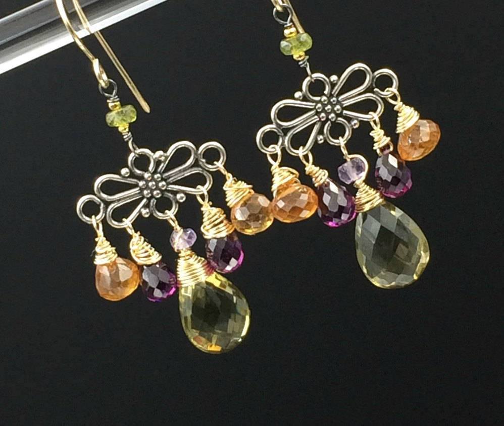Mixed Metal Hessonite Garnet Dangle Earrings - doolittlejewelry