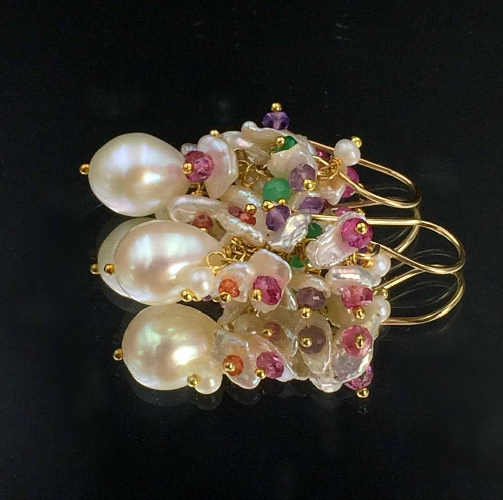 Pearl and Multicolor Cluster Wedding Earrings - doolittlejewelry