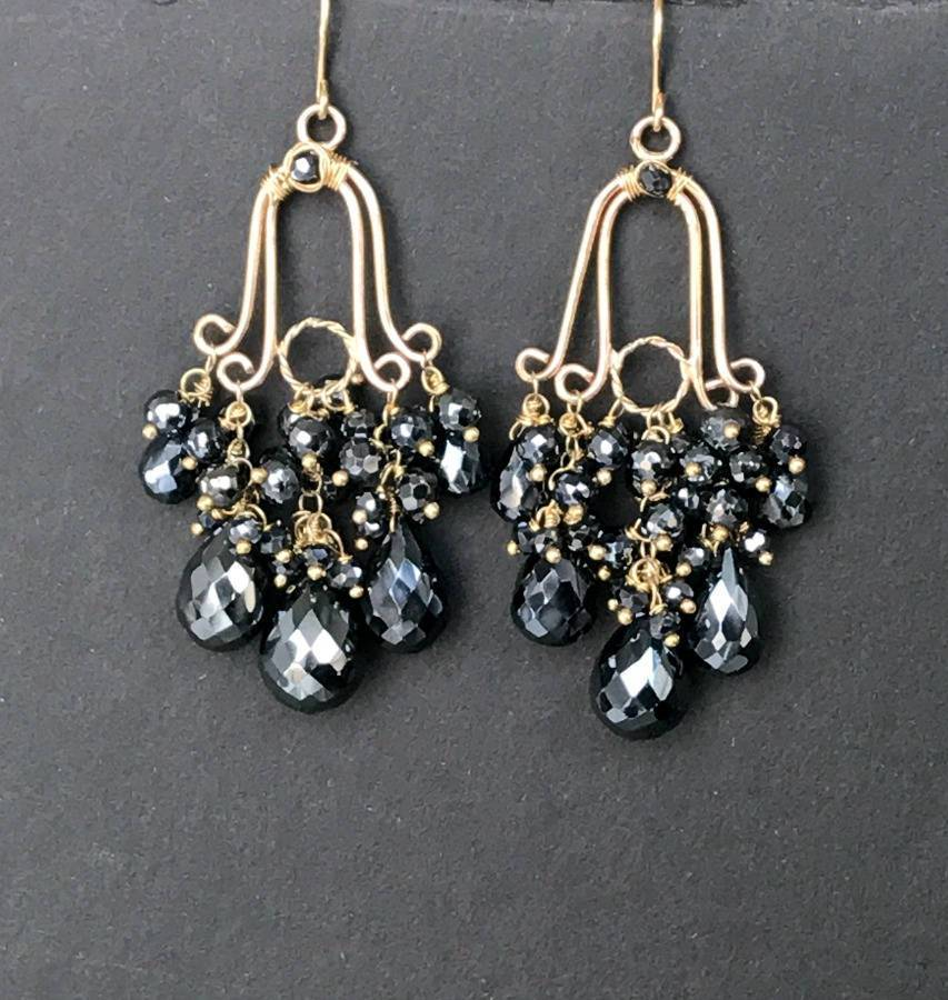 Gemstone Black Spinel Gold Fill Handmade Chandelier Earrings - doolittlejewelry