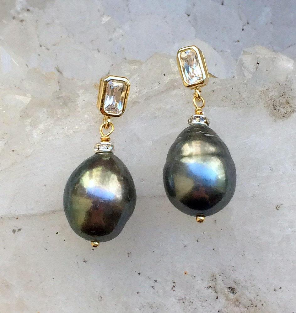 Black, Baroque Pearl and Gold Vermeil Earrings - doolittlejewelry
