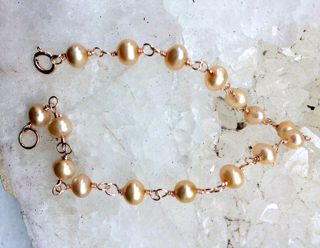 Rose Gold and Pearl Wire Wrap Bracelet - doolittlejewelry