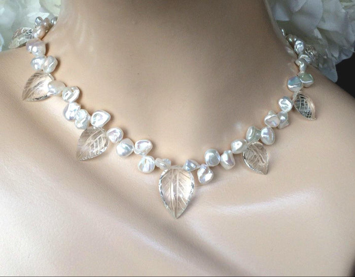 Crystal Keishi Pearl Unique Handmade Necklace - doolittlejewelry