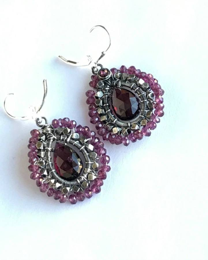 Oxidized Silver and Rhodolite Garnet Hoop Earrings - doolittlejewelry