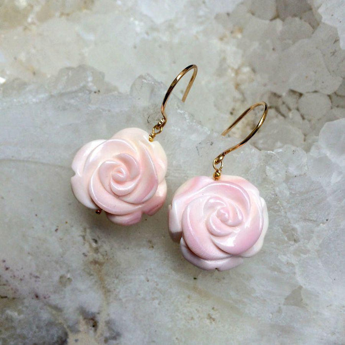 Conch Shell and Carved Flower Pink Earring - doolittlejewelry