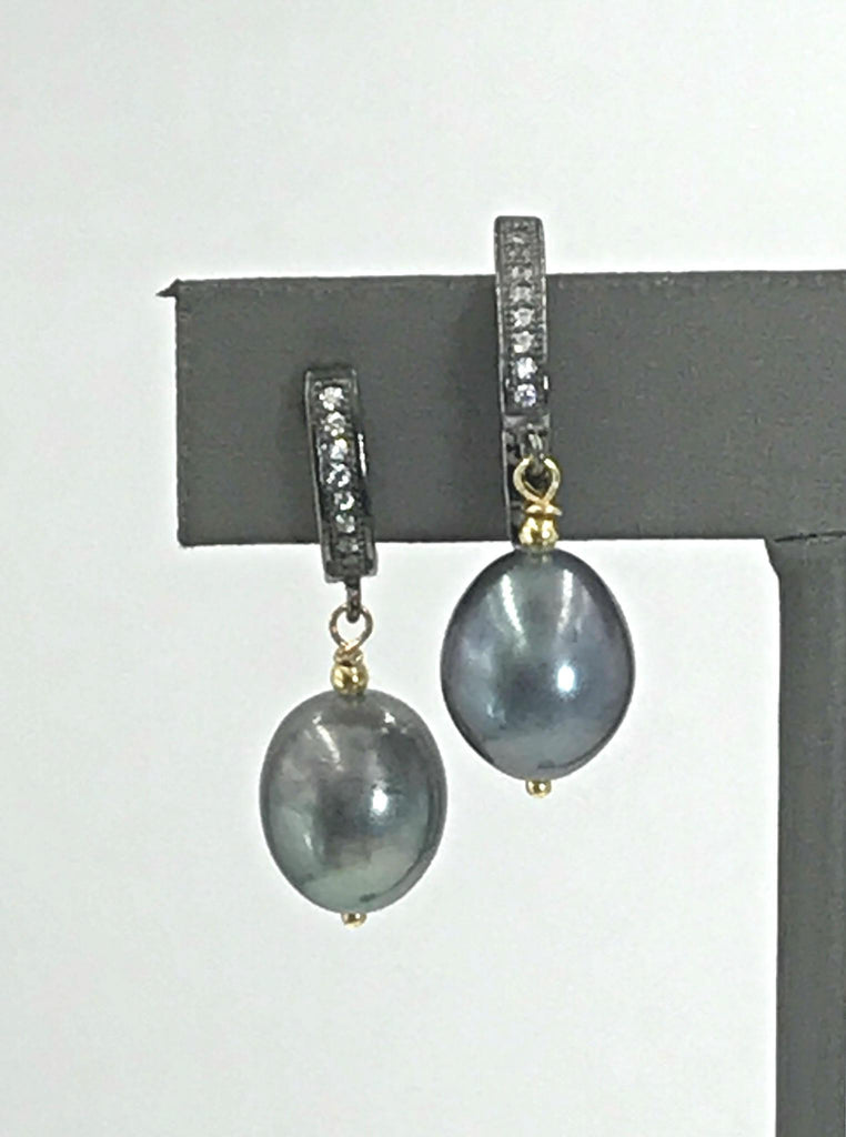 Oxidize Sterling and Peacock Baroque Pearl Earring - doolittlejewelry