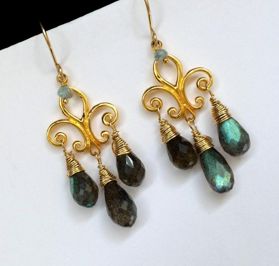 Gold and Blue Flash Labradorite Chandelier Earrings - doolittlejewelry