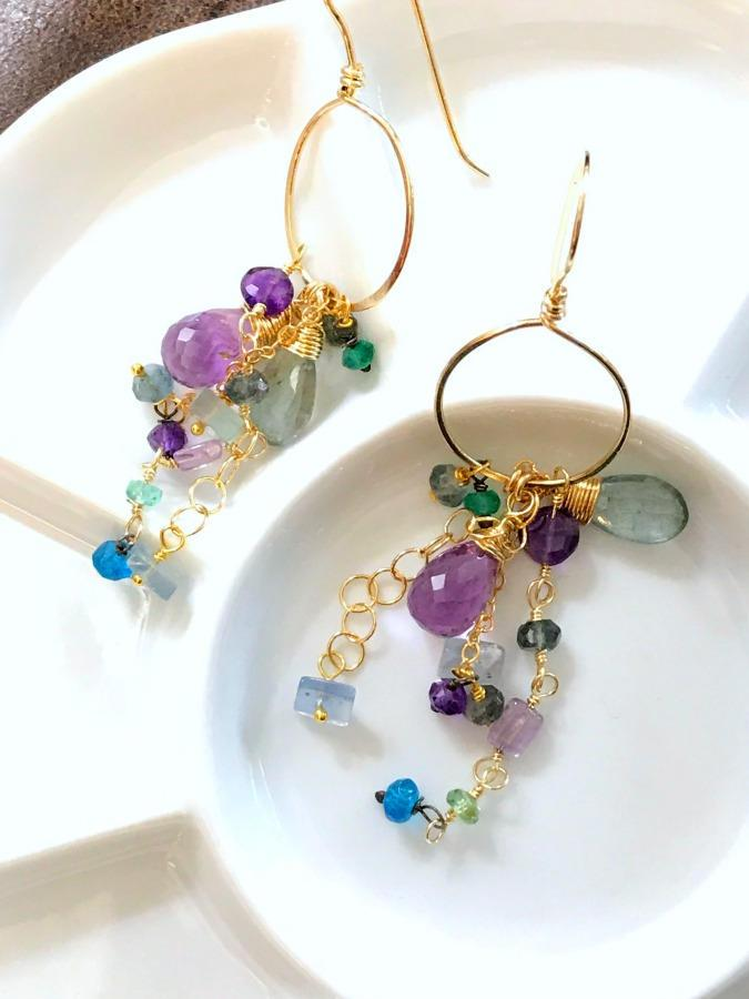 Amethyst Dangle Wire Wrap Gold Fill Hoop Earrings - doolittlejewelry
