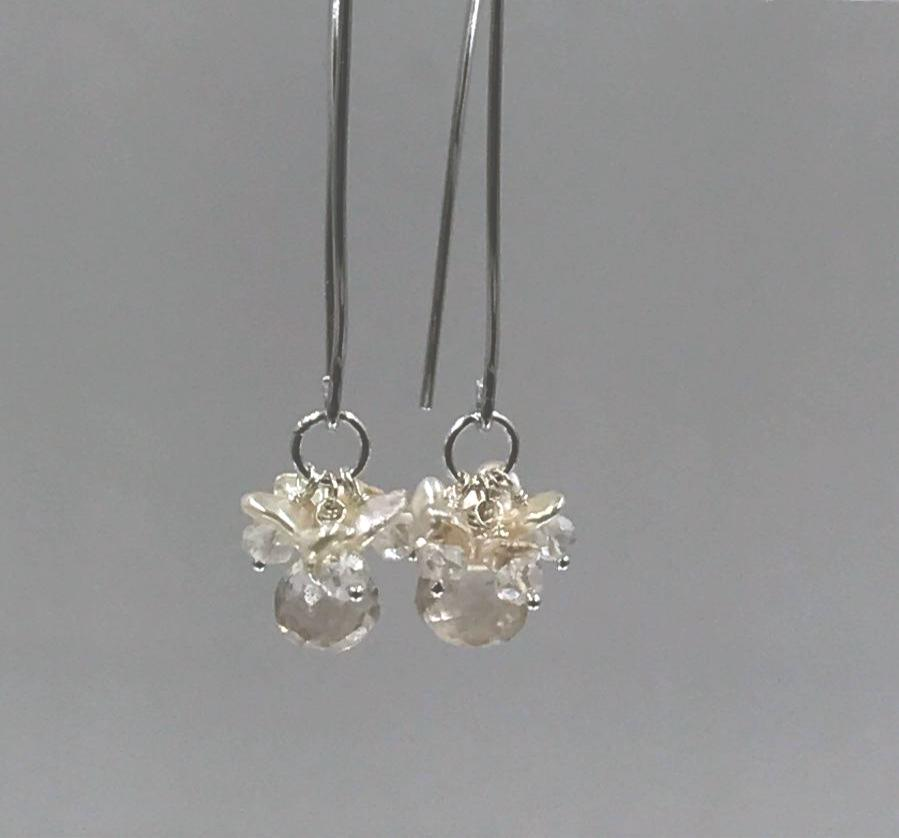Crystal Quartz and Sterling Silver Elongated Earrings - doolittlejewelry