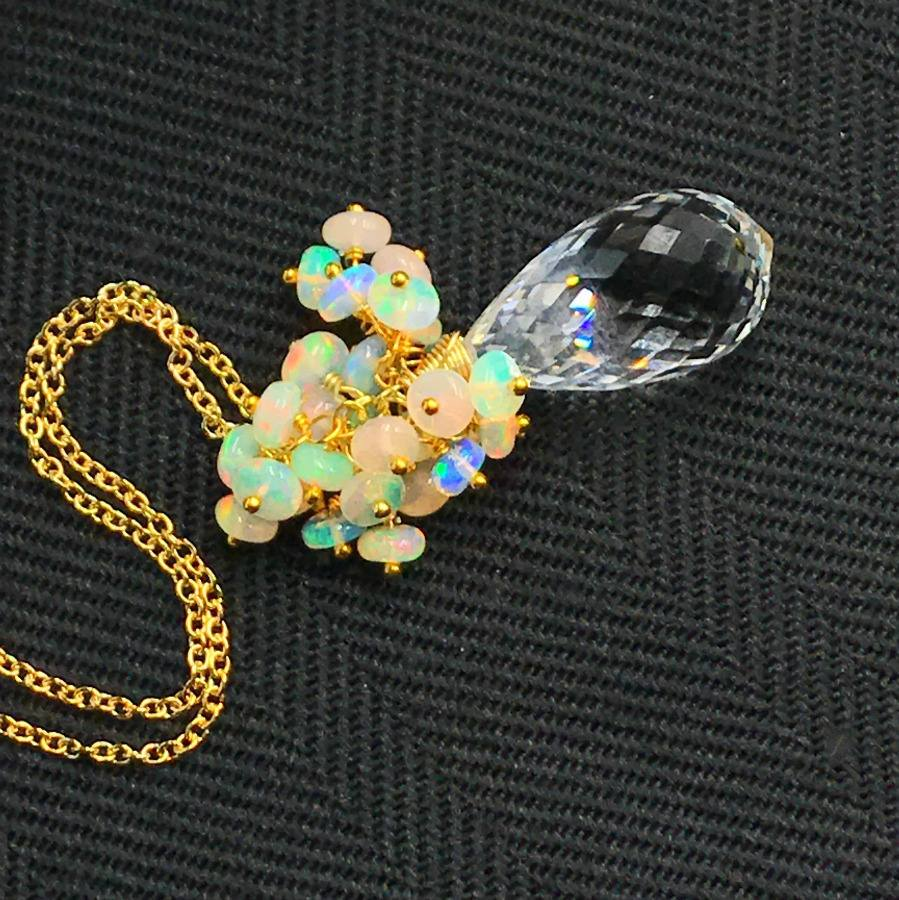 Clear Crystal Quartz Opal Cluster Pendant Necklace - doolittlejewelry