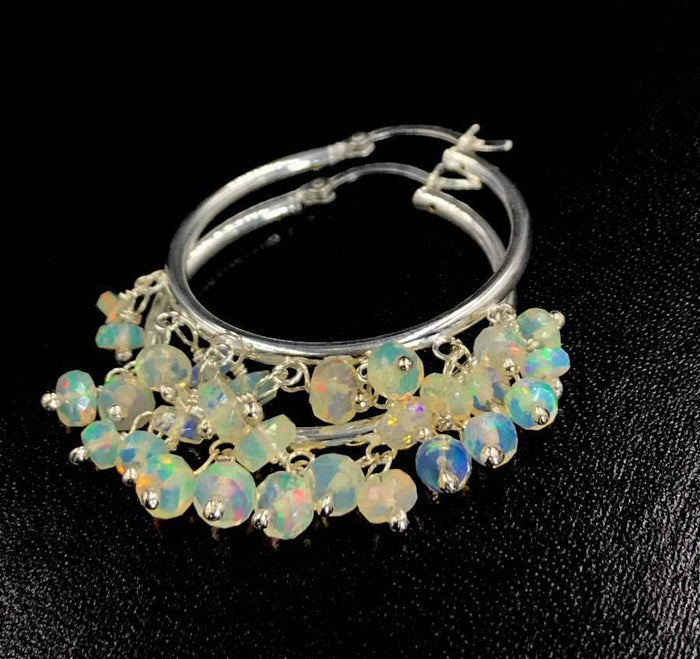 Sterling Silver Ethiopian Opal Hoop Earrings - doolittlejewelry