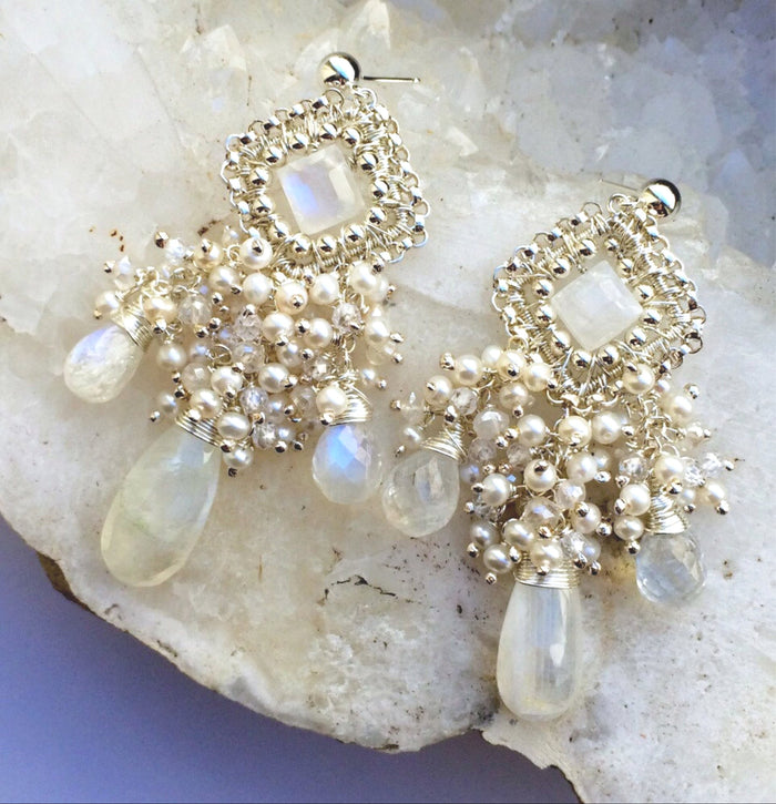 Sterling Silver and Moonstone Chandelier Wedding Earring - doolittlejewelry