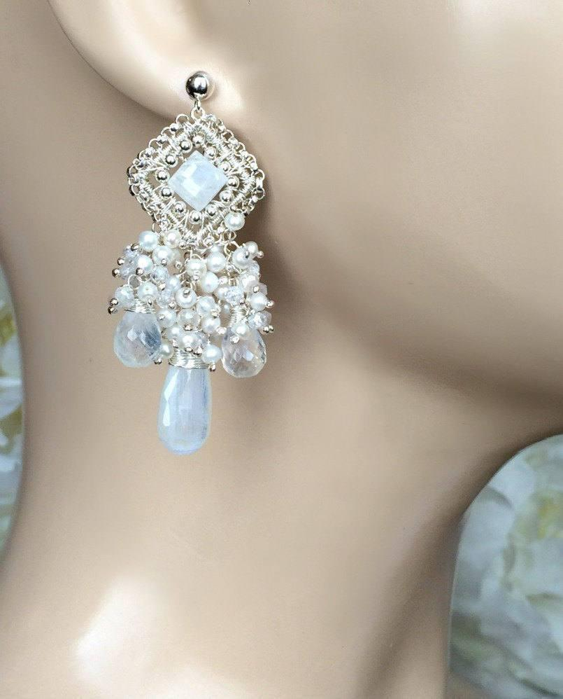 Sterling Silver Chandelier and Moonstone Bridal Wedding Earrings - doolittlejewelry