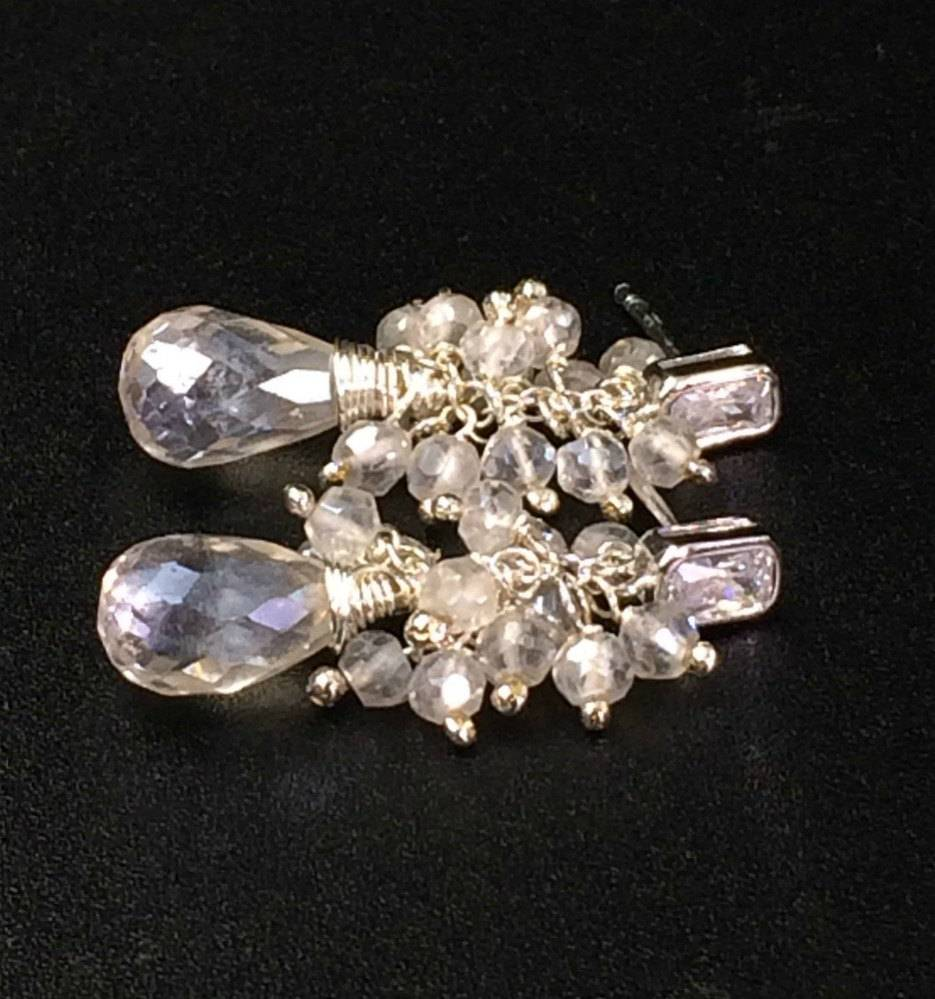 Mystic Silver Crystal Quartz Gemstone Sterling Silver Earrings - doolittlejewelry