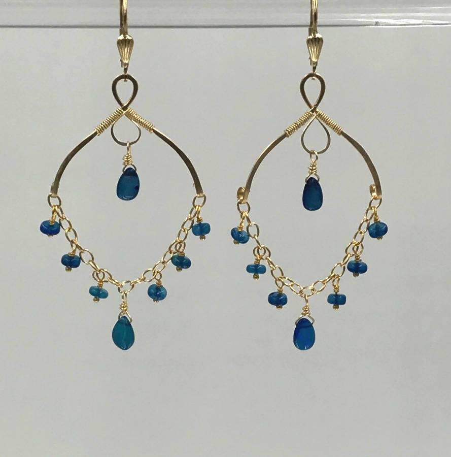 Opal Gemstone Chandelier Gold Fill Earrings - doolittlejewelry