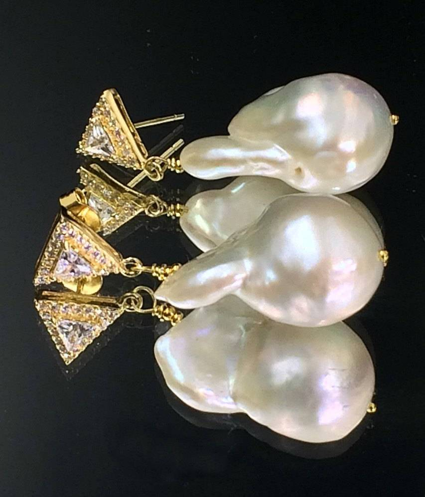 Nucleated Baroque Pearl and Gold Vermeil  Earrings - doolittlejewelry